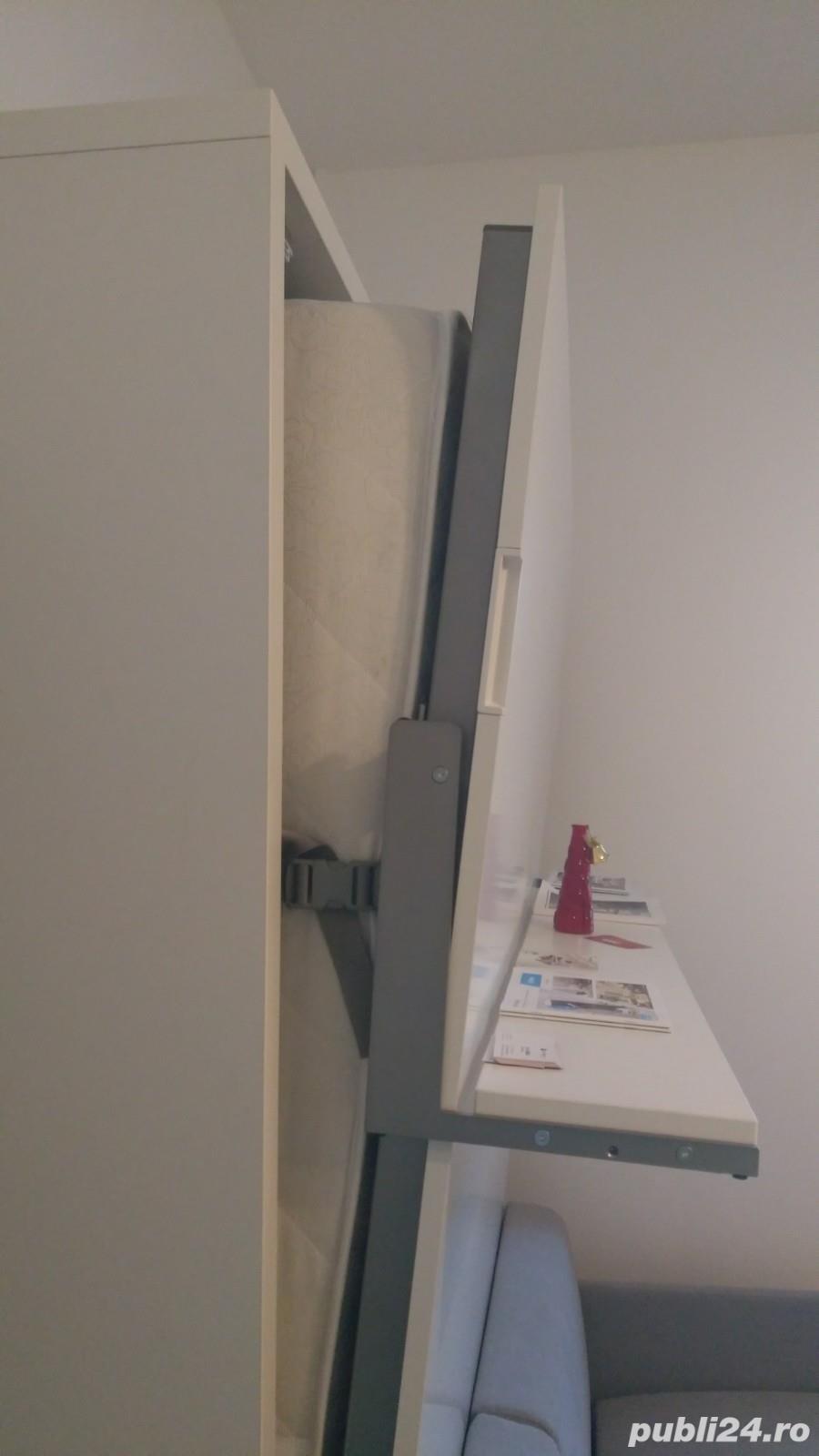 Ocazie! Pat rabatabil vertical cu canapea, pentru saltea de 160x200cm