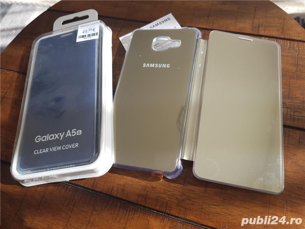 Husa Originala CLEAR View activa pt Samsung Galaxy A5 2016 Noua,Gold,Blue