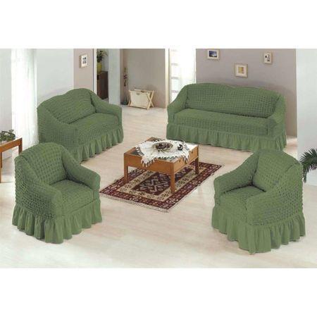 Set 4 piese, 1 husa pentru canapea de 3 locuri, 1 husa canapea de 2 locuri si 2 huse pentru fotolii