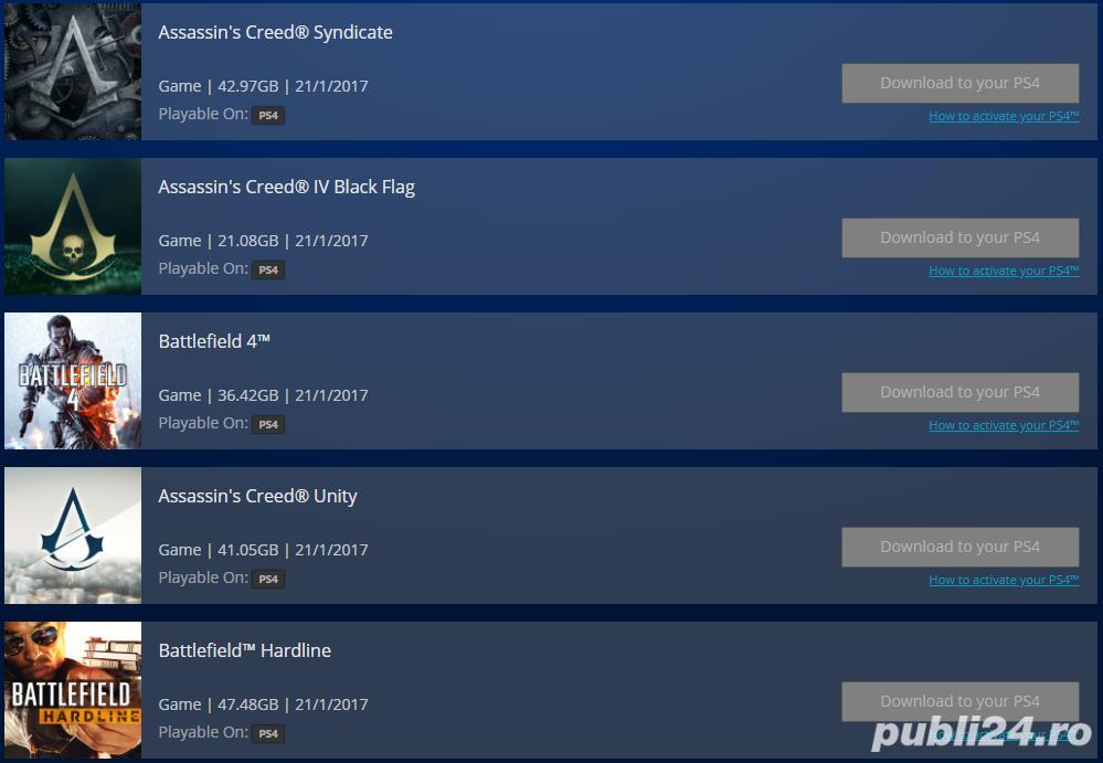 cont PlayStation Network cu 10 jocuri pt. PS4