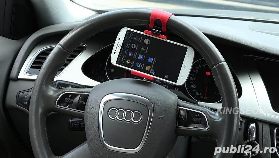 Suport Auto Volan Universal Reglabil Rosu cu Negru pt Telefon C36