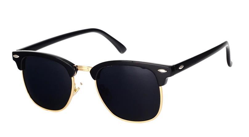 Ochelari de soare Polarizati Clubmaster Rama neagra Lentile negre