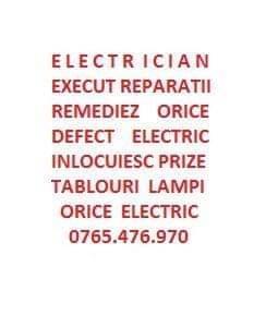 ELECTRICIAN REMEDIEZ RAPID ORICE DEFET ELECTRIC,ORICE LUCRARE ELECTRICA LA.ORICE NIVEL!!!