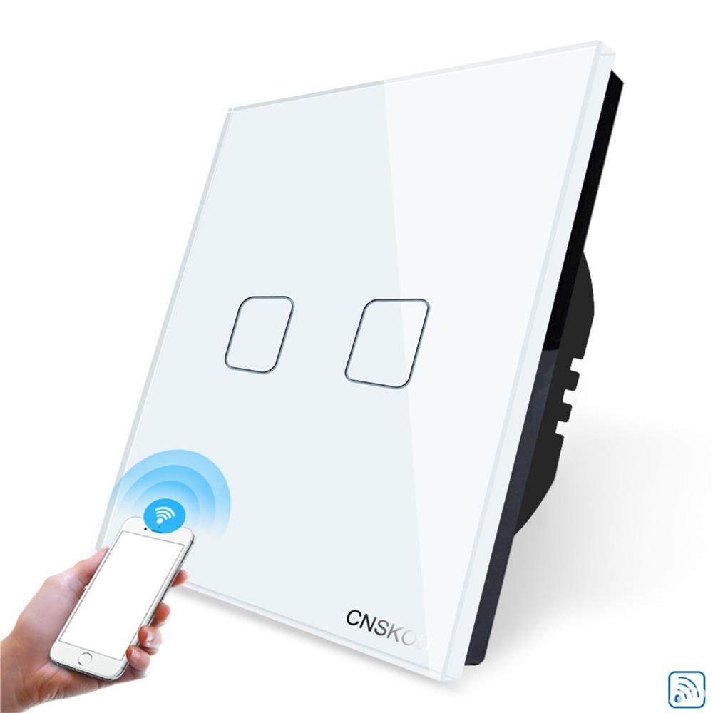 Intrerupator dublu WiFi cu touch CNSKOU, panou tactil de sticla cristal