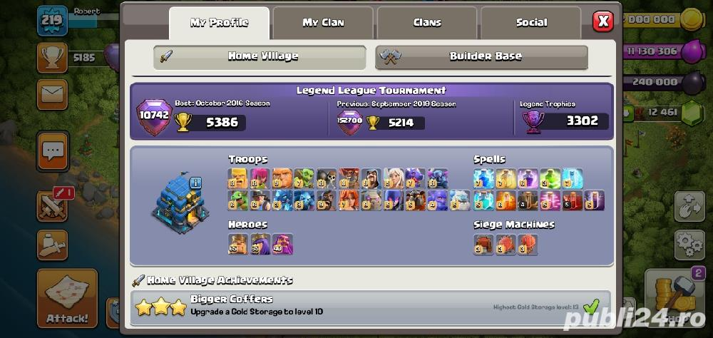 Vand cont de Clash of Clans max th 12