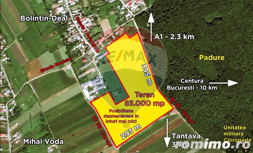Teren constructii 85000 mp, Bolinin Deal, comision 0