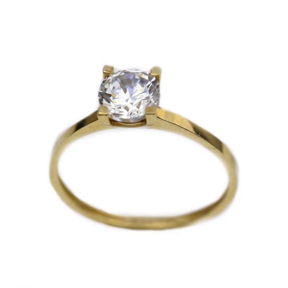 Inel aur galben logodna cu zirconiu - DA320