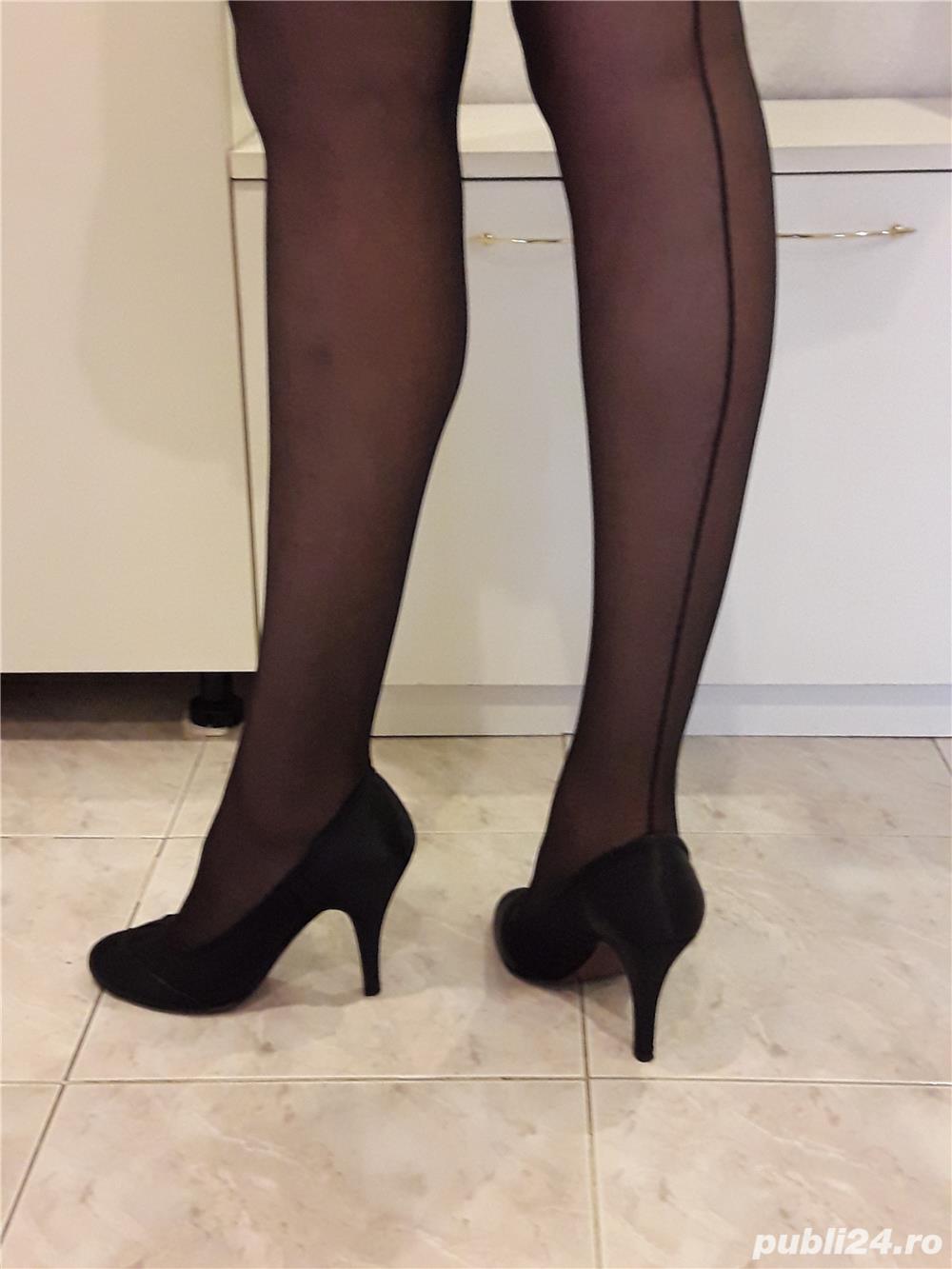 Vand pantofi negri satin+plasa delicata marimea 39