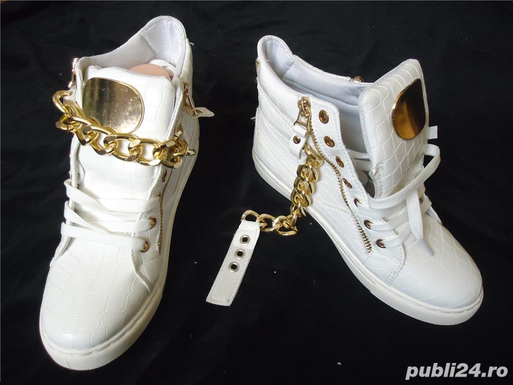 Sneakers dama botine albe piele eco ghete sport casual accesorii aurii