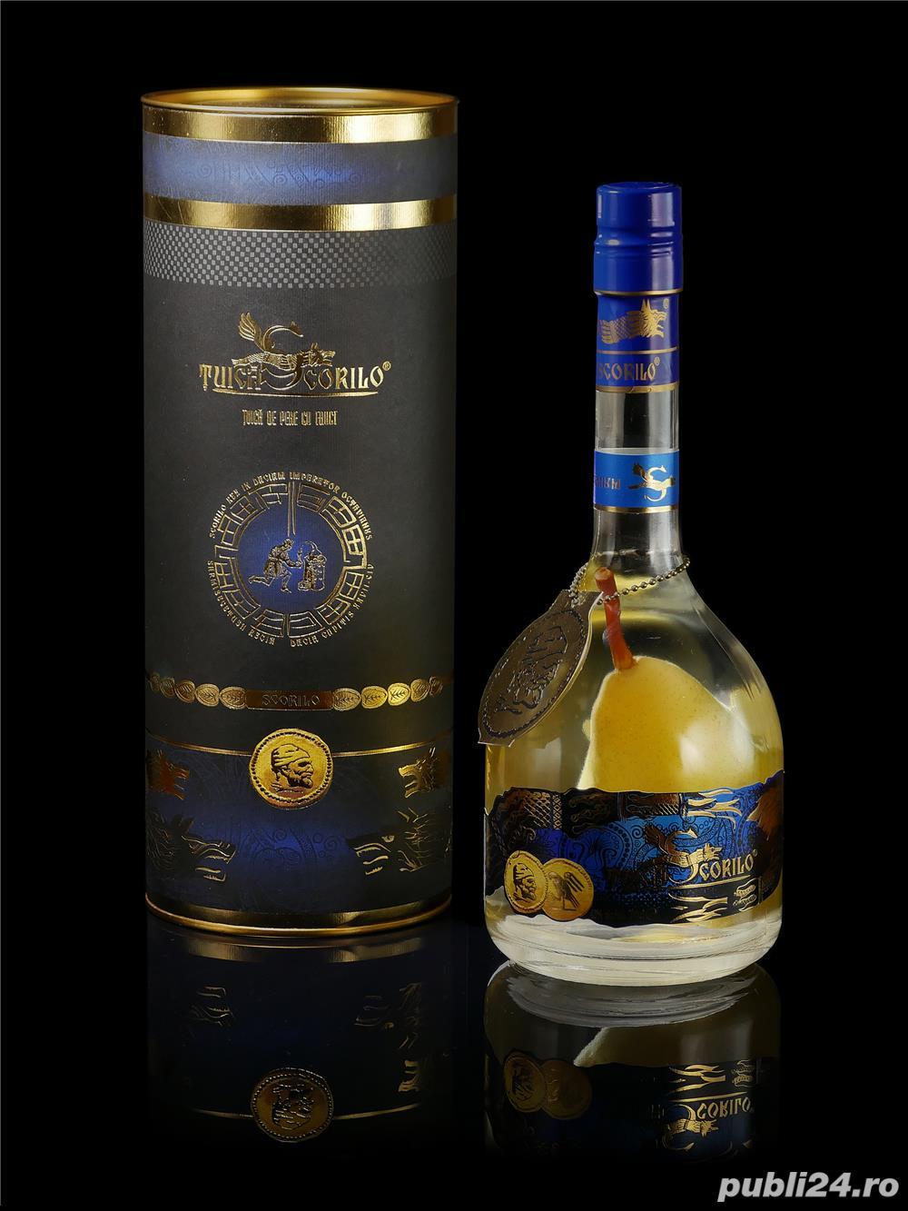 TUICA SCORILO-distilat din pere Williams-2013 Premium Quality cu para in interiorul sticlei