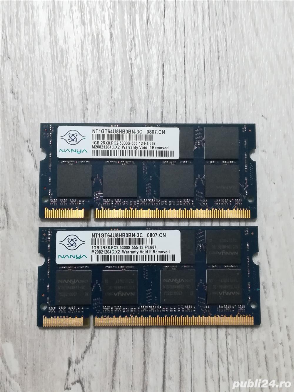 memorii laptop 2 x 1gb ddr 2 nanya