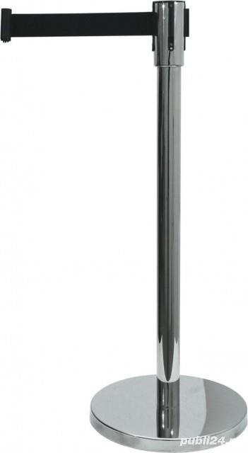 Delimitator Ecoflex din Inox, H = 90 CM - centura neagra 200 cm