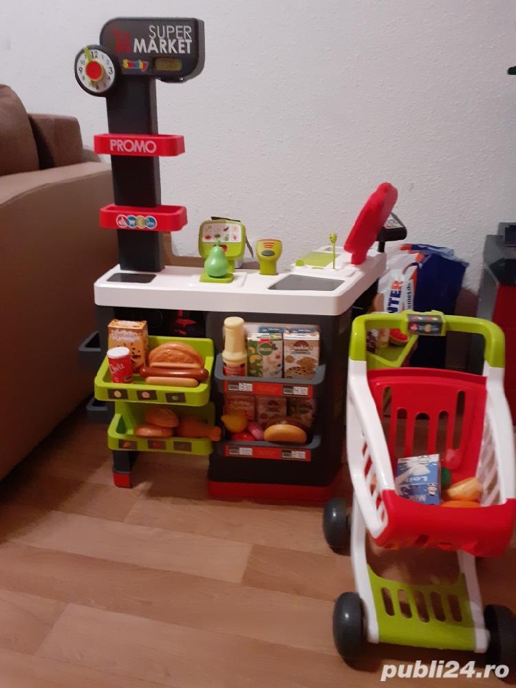 Vand magazin copii cu accesorii si masa de lucru pentru baietii cu accesorii