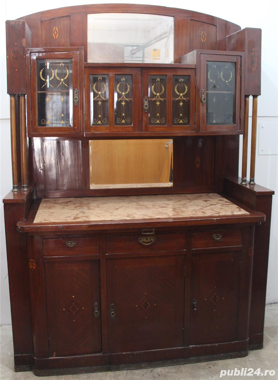 Bufet vintage lemn masiv cu marmura; Biblioteca; Vitrina veche