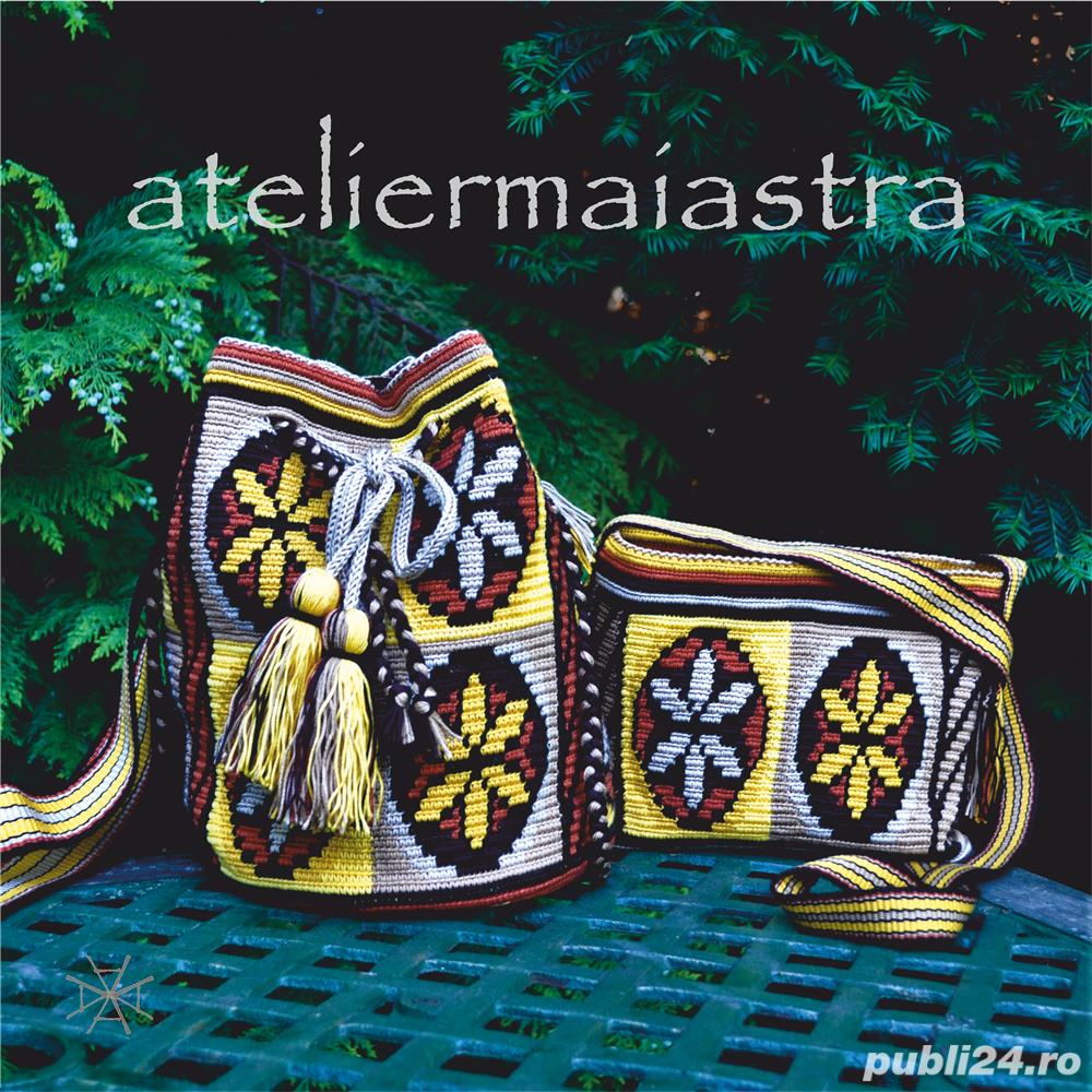 set genti handmade crosetate ornamentate cu motivul popular din Maramures scara matii și soare