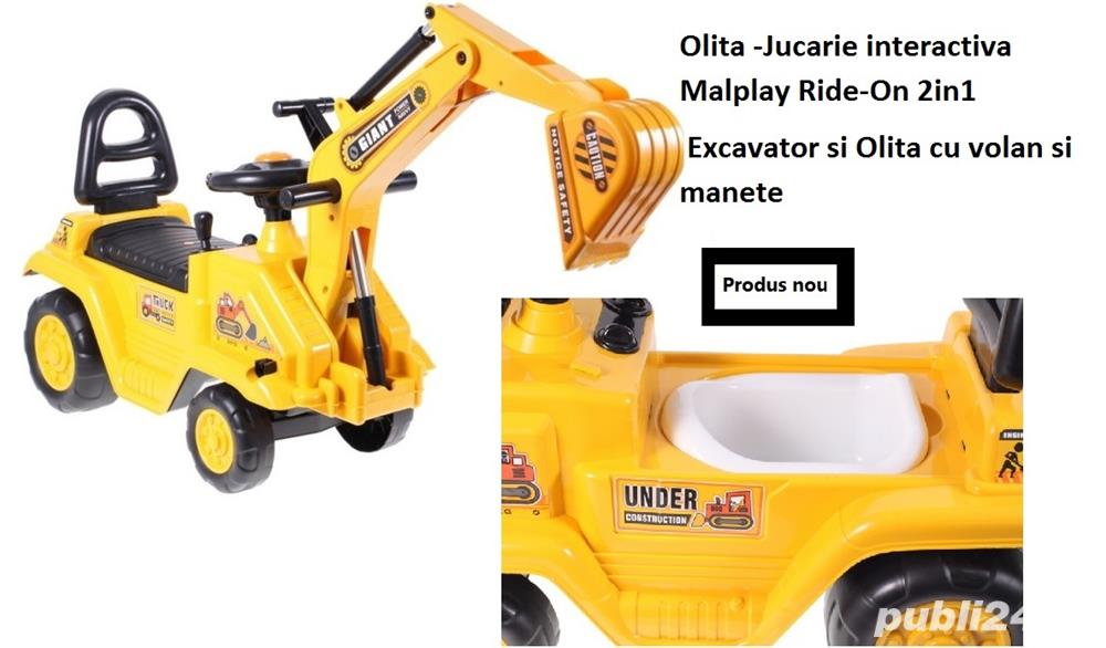 Olita -Jucarie interactiva Malplay Ride-On 2in1 Excavator si Olita cu volan si manete