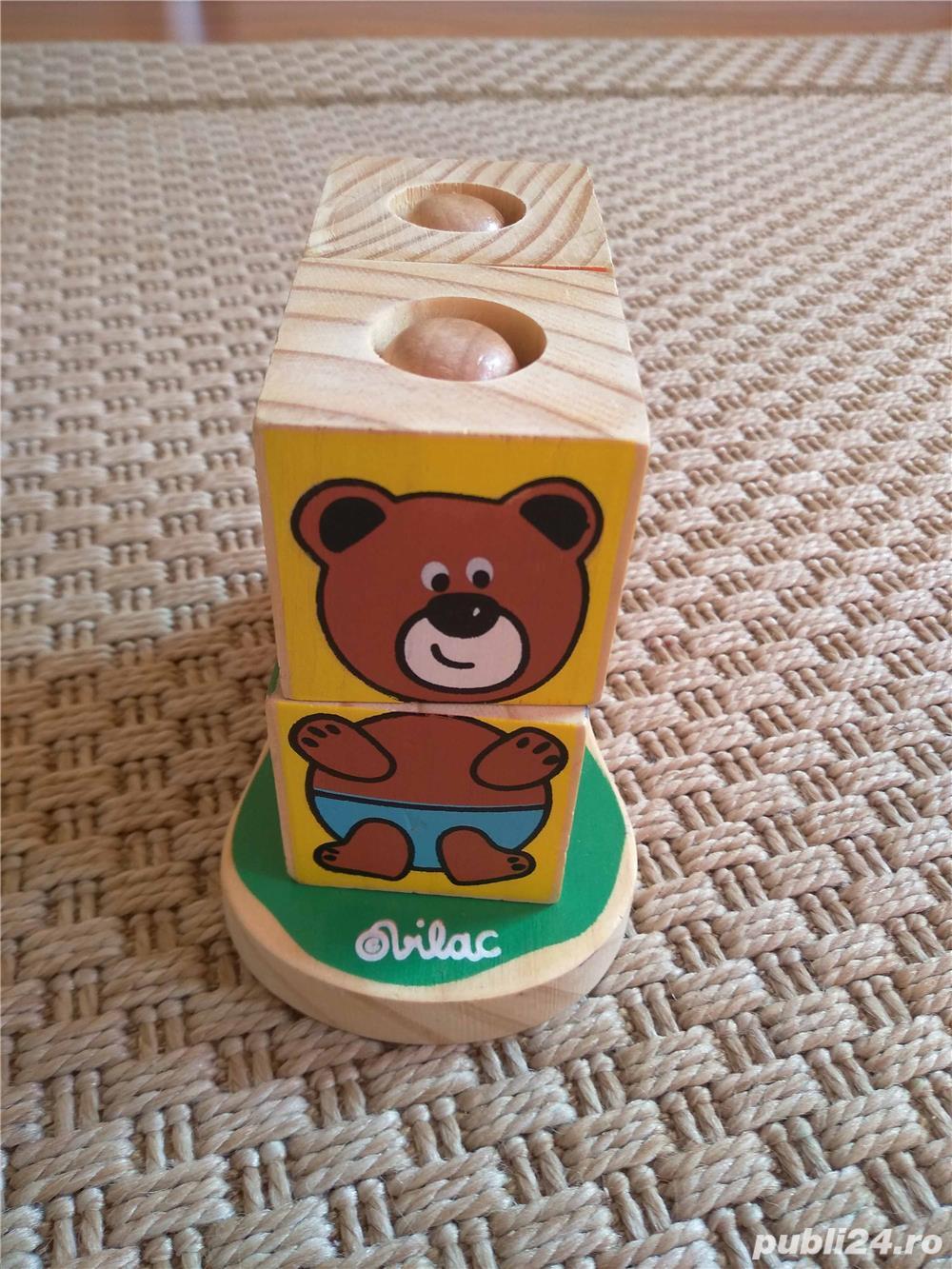 Vand set 4 cuburi tip puzzle marca Vilac, cu animalute