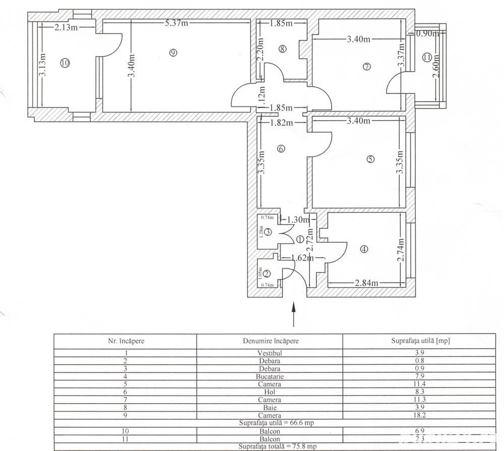 Apartament 3 camere decomandat, 75,8 mp, Dristor, vedere mixta, et. 6/10.