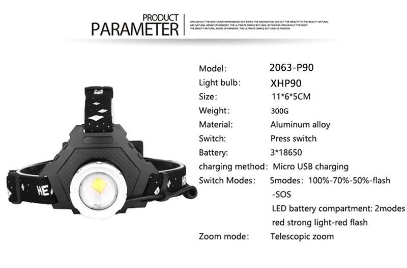 Lanterna cap led XHP70 zoom