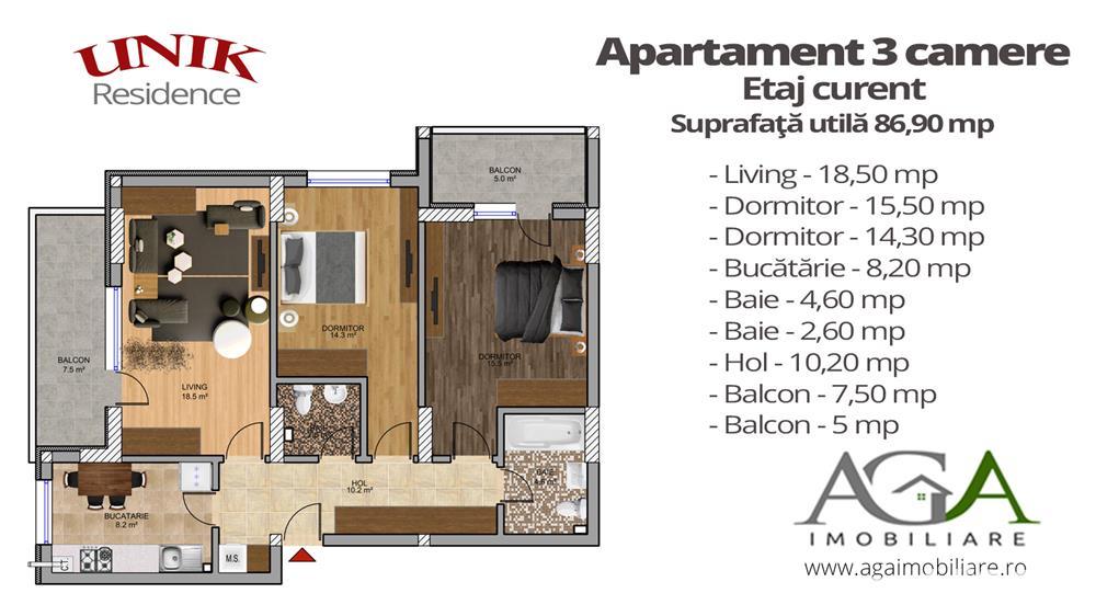 Apartament 3 camere + Terasa 28 mp - Oferta LIMITATA - 6 min Metrou Berceni