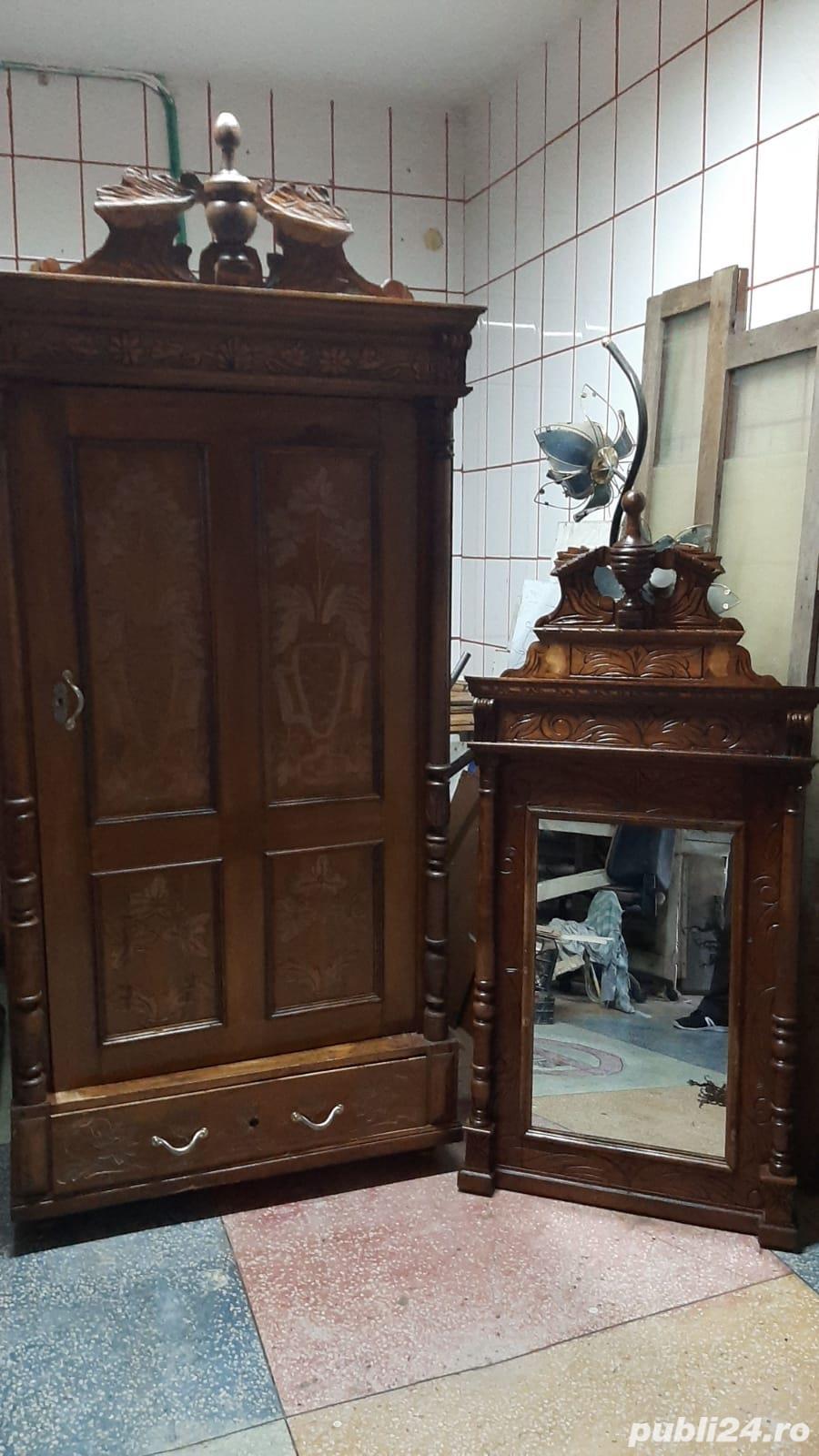 Vand sifonier si oglinda stil baroc, cu sculpturi manuale, originale,  foarte bune - 150 ani vech.