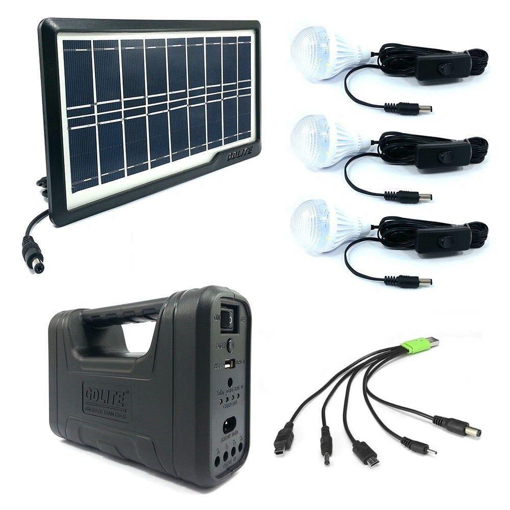 Kit Solar MRG AKL-8017A, Negru, 3 becuri, Panou solar C333