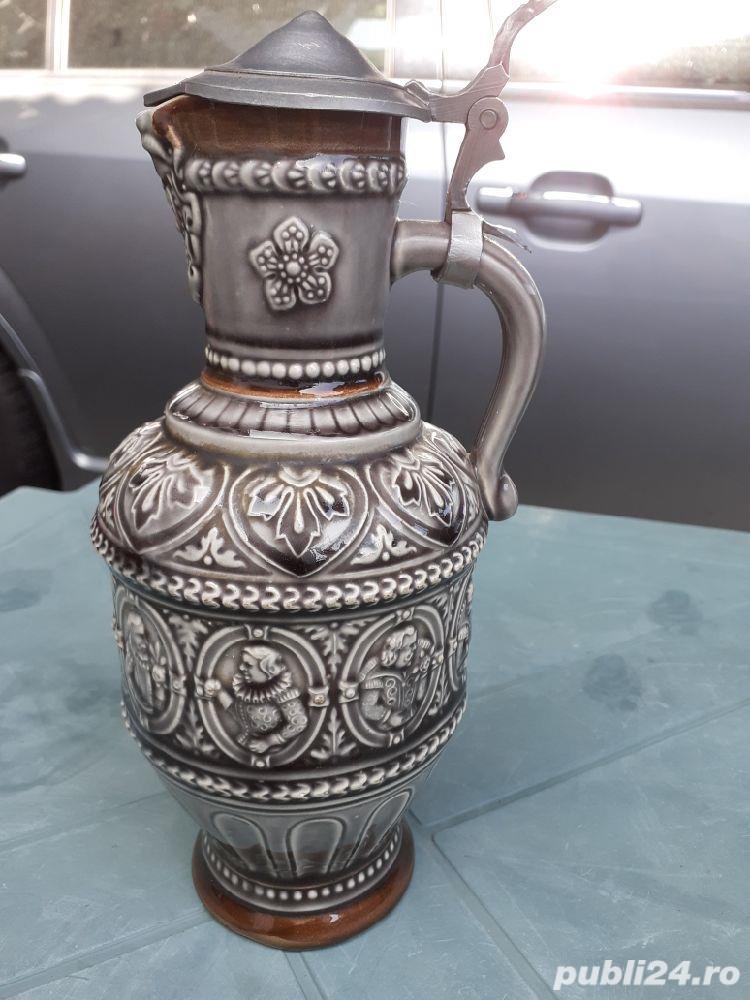 Halbă Rară de bere din ceramică cu gât îngust 25 cm capac aluminiu / zinc