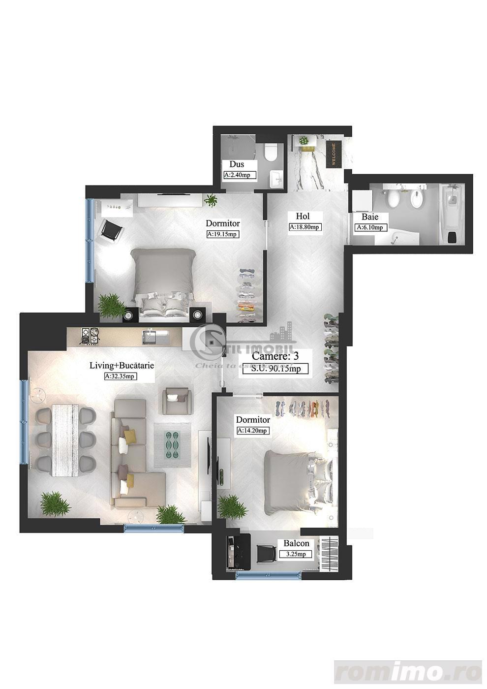 Apartament tip Premium, 3 camere, 90.15mp