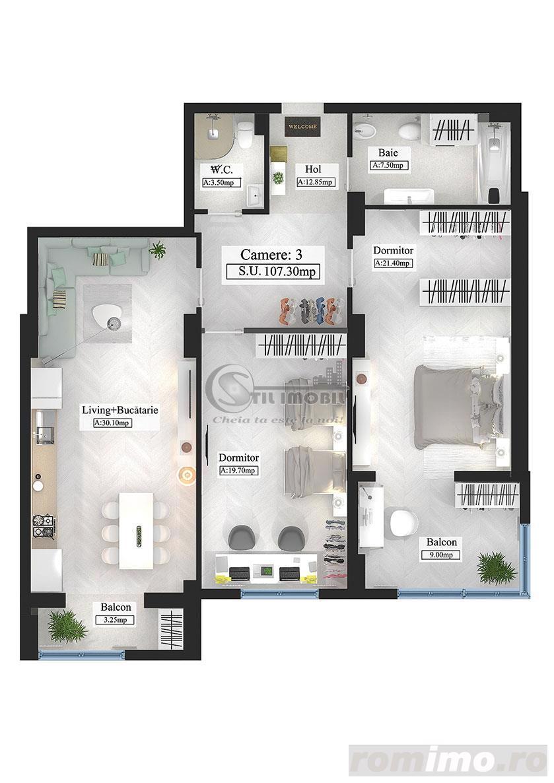 Apartament tip Premium, 3 camere, 107.3mp
