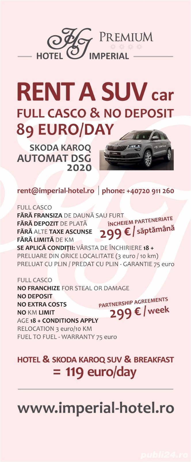Rent / inchiriere Skoda Karoq2020dsgFullCasco no Depozit 299 Euro/WEEK