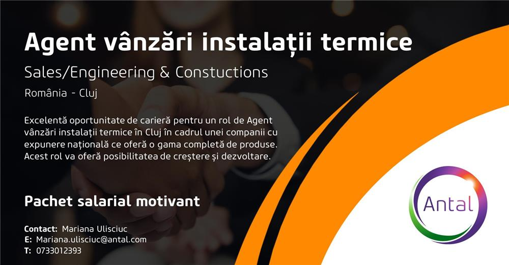Agent vânzări instalații termice Cluj
