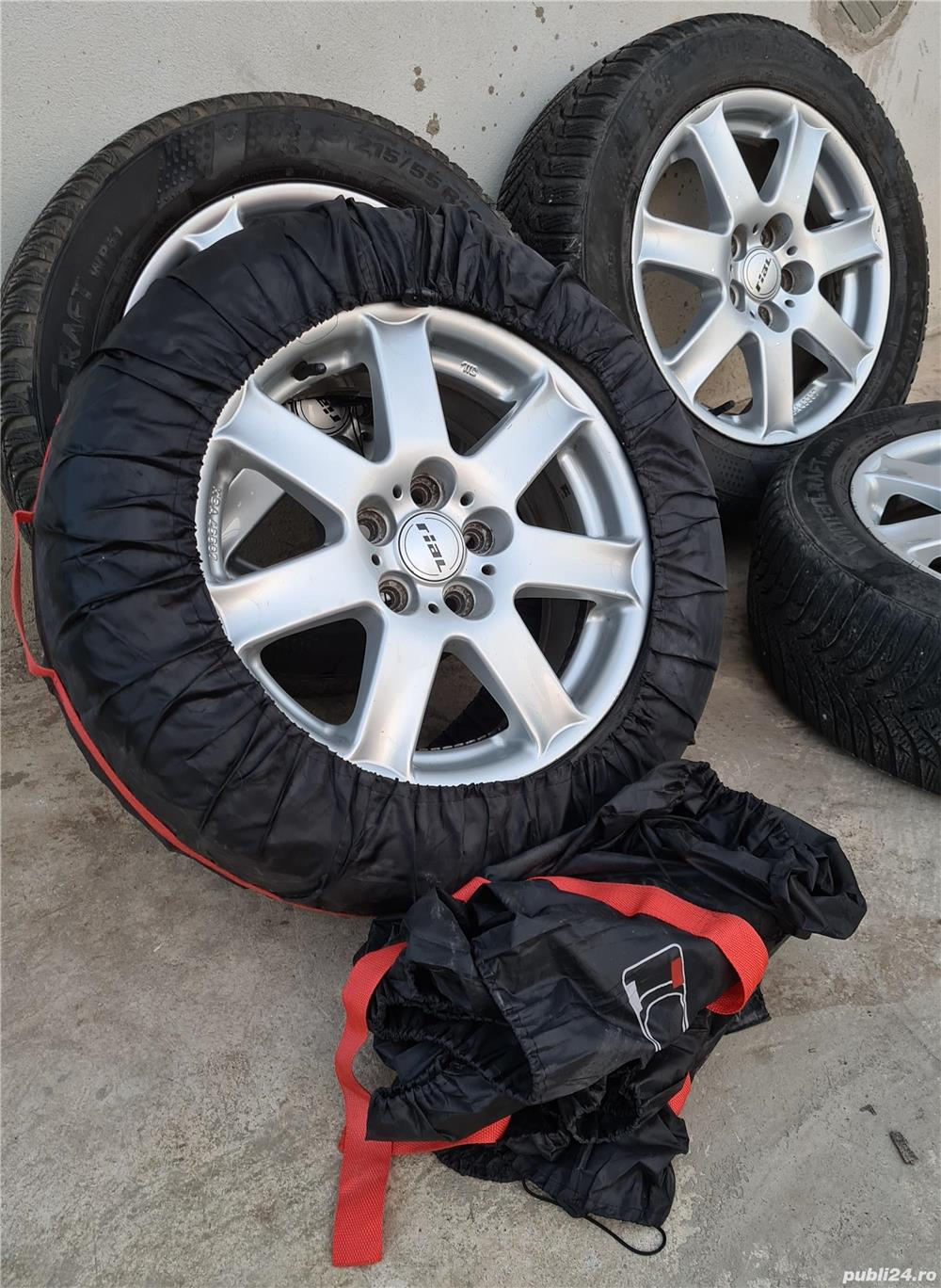 Jante Rial R16 5x108, ET46 cu anvelope 215/55/R16 Ford, Volvo, Peugeot