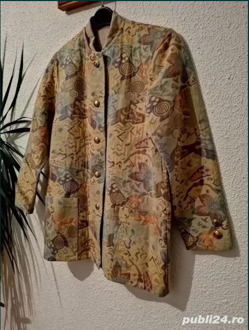 Sacou/jachetă vintage tapiserie, mărimea L-XL. Nasturi bijuterie. - produs rar