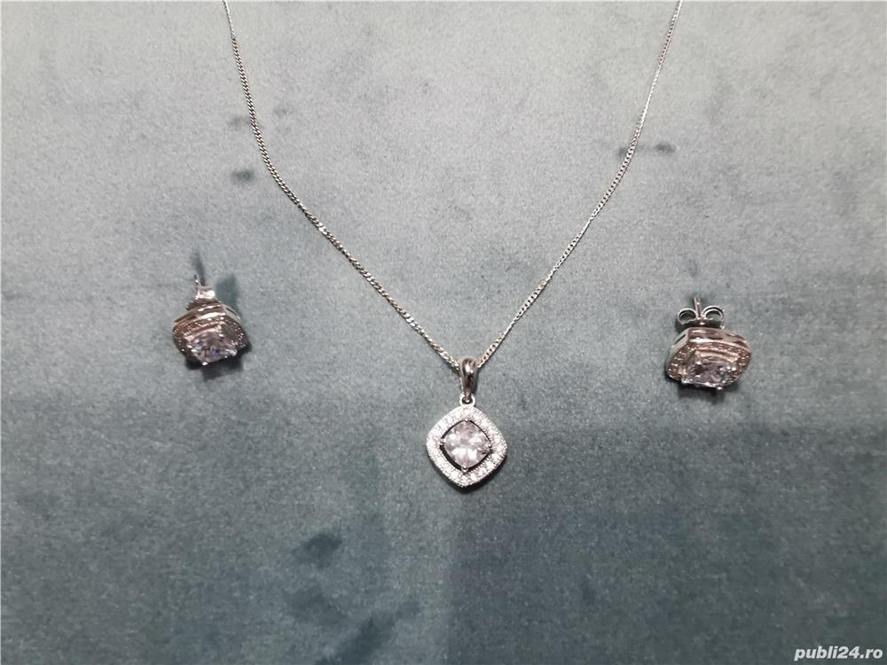 Set Bijuterii argint 925 - lant, pandantiv si cercei - model deosebit