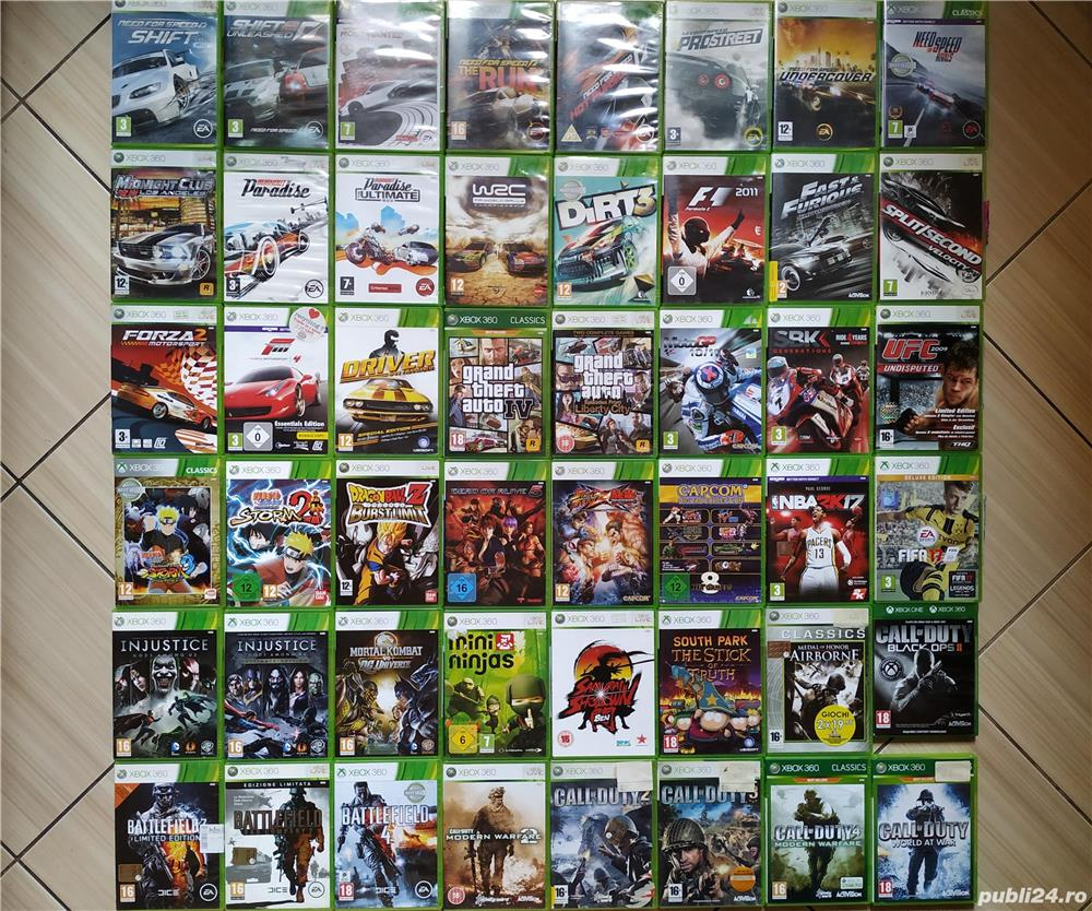 Xbox 360: GTA, FIFA, UFC, NFS, MotoGP, Call Of Duty, F1, Forza, WRC, Mortal Kombat, Battelfield, etc