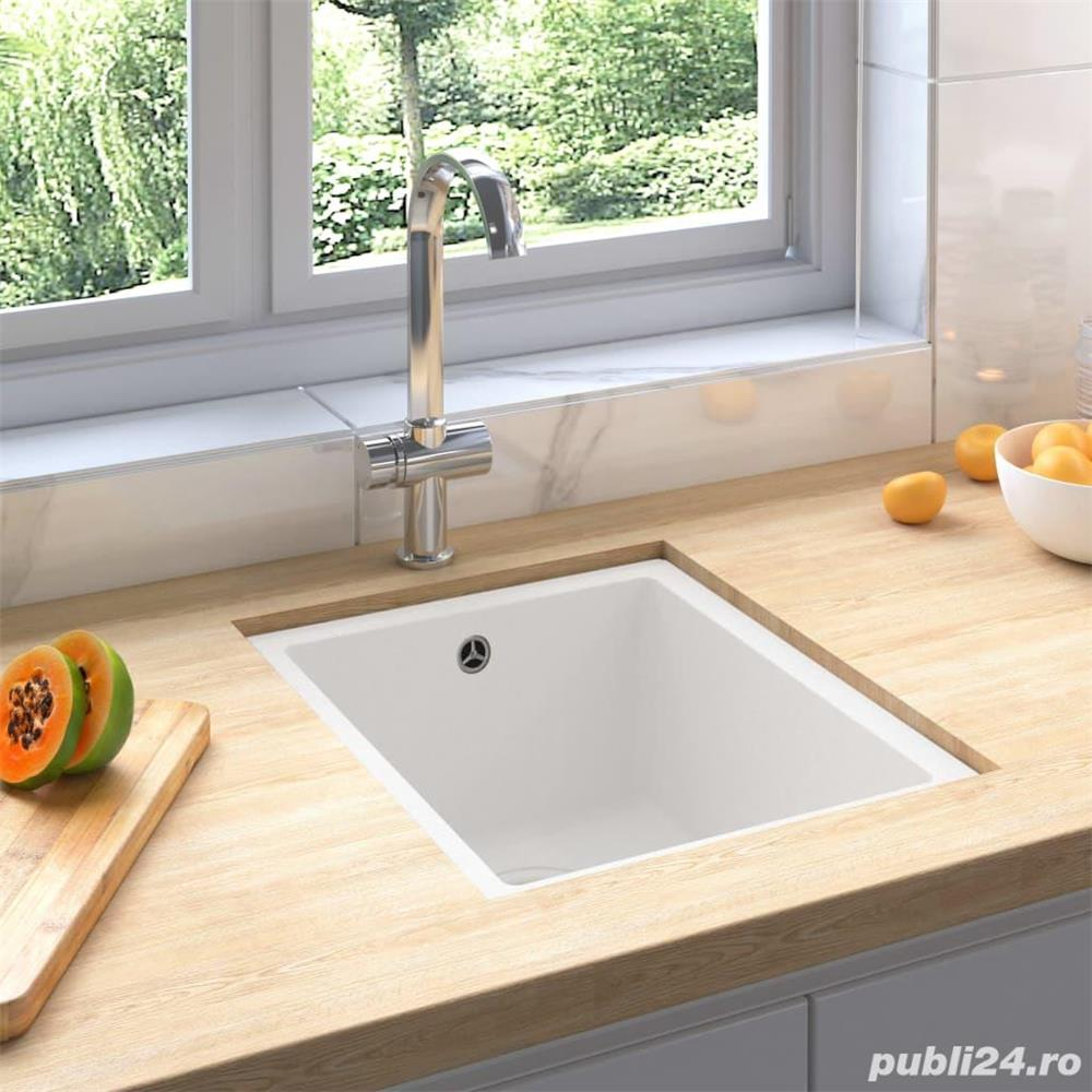 vidaXL Chiuvetă de bucătărie cu orificiu de preaplin, alb, granit vidaXL(147076)