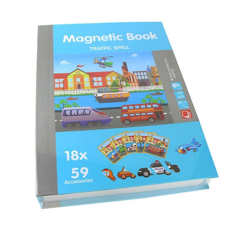 Jucarie Carte magnetica puzzle   Trafic   55 piese STEM