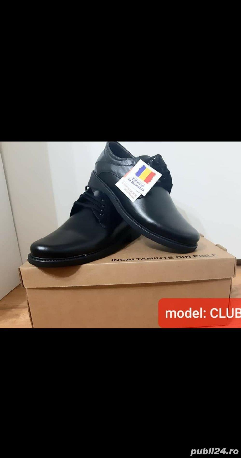 pantofi barbati model club negru piele naturala 100%