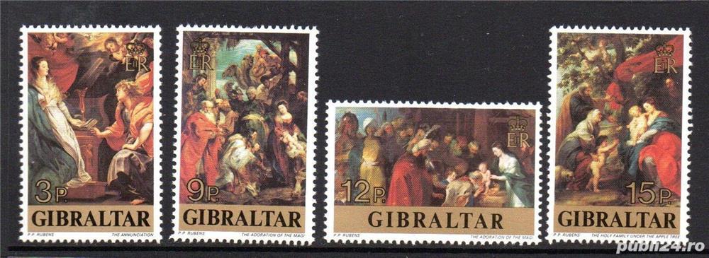 Timbre Gibraltar 1977 pictura Rubens serie nestampilata
