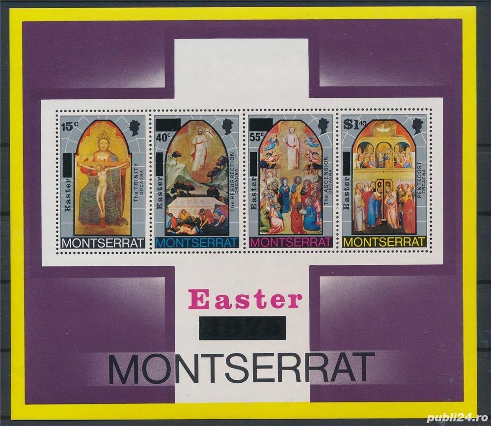 Timbre Montserrat 1976 pictura religioasa bloc nestampilat