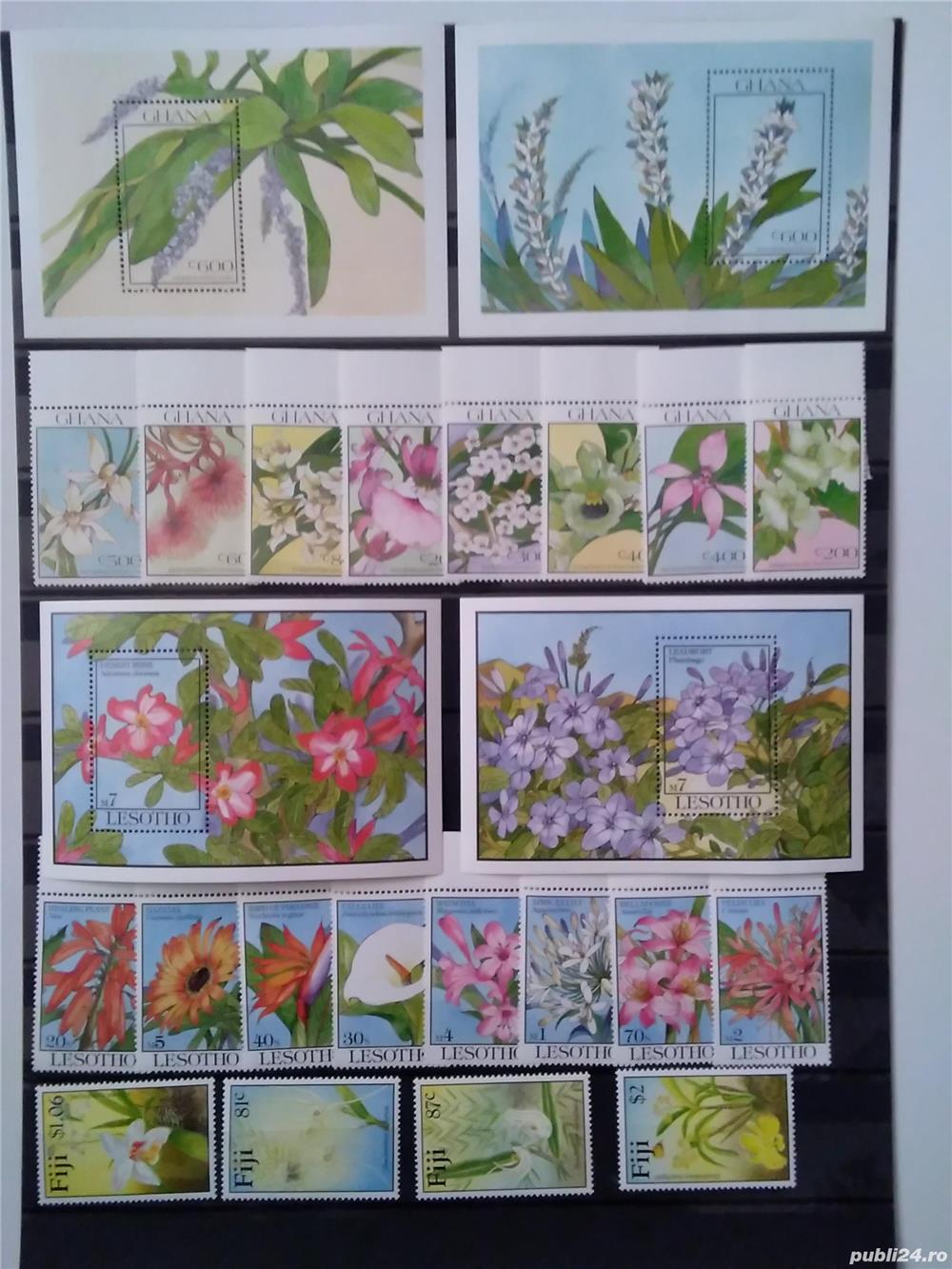 Timbre cu orhidee nestampilate in serii complete