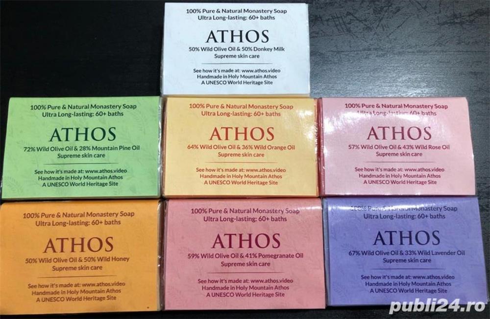 Set sapun natural, lucrat manual in Sfântul Munte Athos + AGHEASMA + CADOU