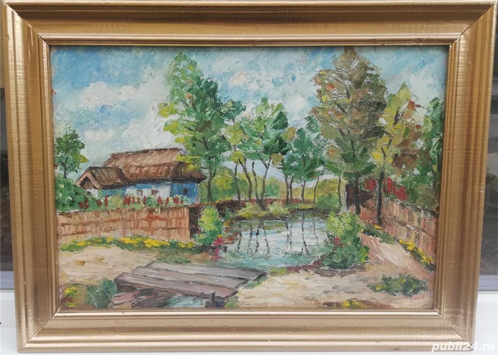 Tablou Peisaj Bucovinean cu Casa pictura ulei în cutit inramat 45x60cm