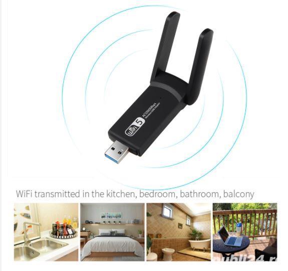 Adaptor wifi dualband cu antenă - placa de retea wireless cu CD driver 1200Mbps