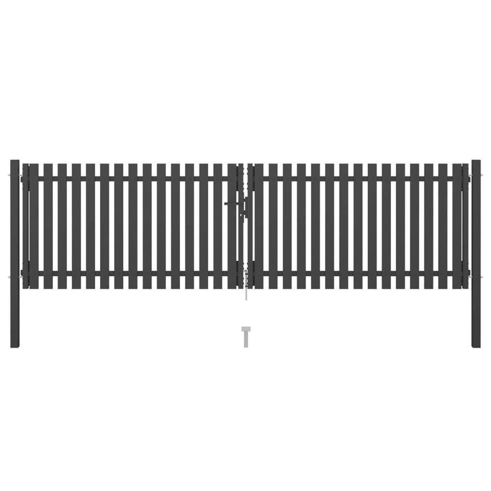 vidaXL Poartă de gard grădină, antracit, 4 x 1,25 m, oțel vidaXL(146333)