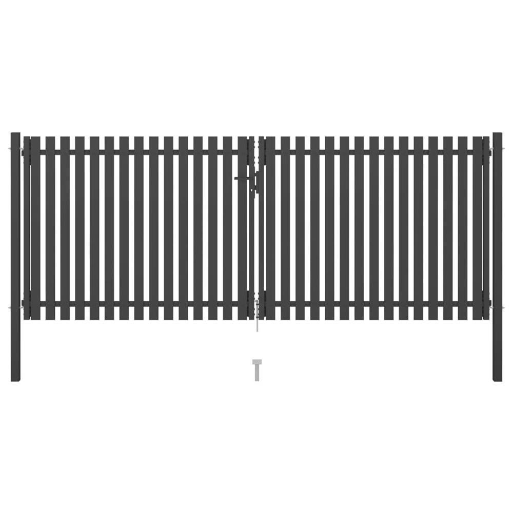 vidaXL Poartă de gard grădină, antracit, 4 x 1,75 m, oțel vidaXL(146335)