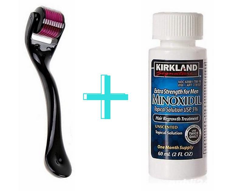 Minoxidil Kirkland 5%, 1 lună aplicare +Dermaroller