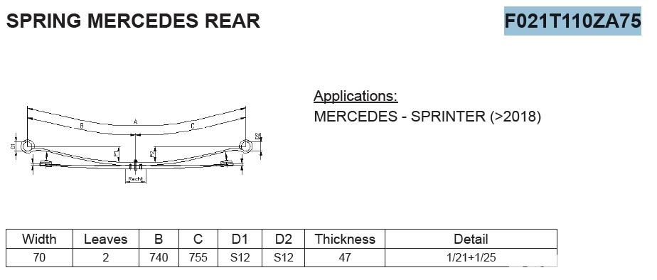 Arc cu 2 foi heavy duty Mercedes Sprinter w 907 2018 - prezent