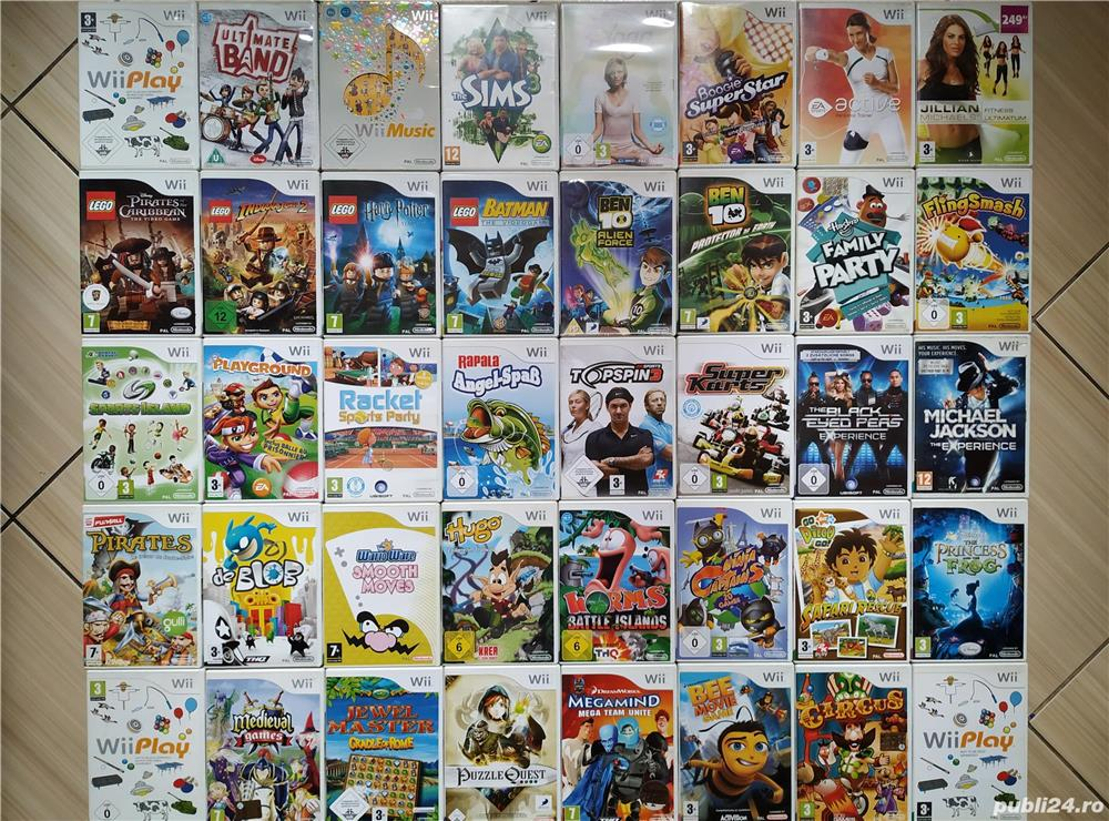 Wii: Wii Play, Sims, Yoga, Sports, Karts, Wario, Ben 10, Lego, Hugo, Circus, Go Diego, Party, etc.