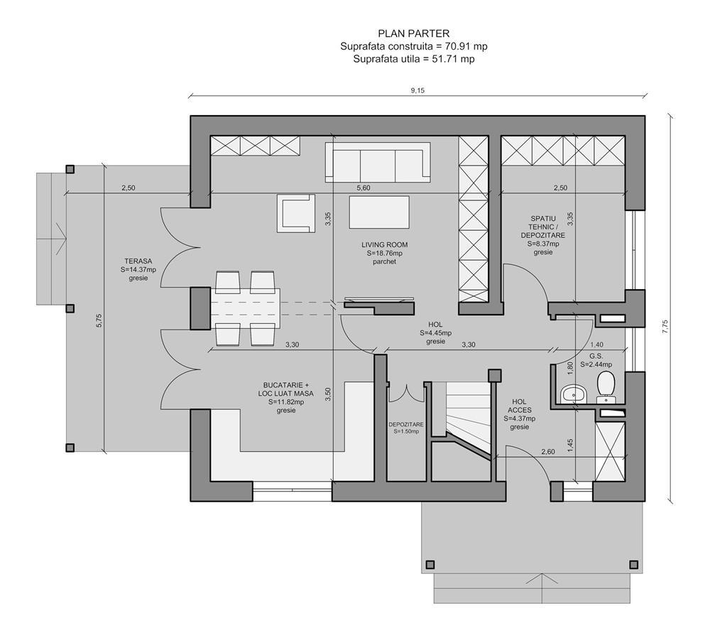 Vand proiect complet pentru o casa unifamiliala Parter + Mansarda